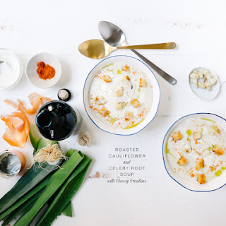 Roasted Cauliflower and Celery Root Soup with Cheesy Croutons