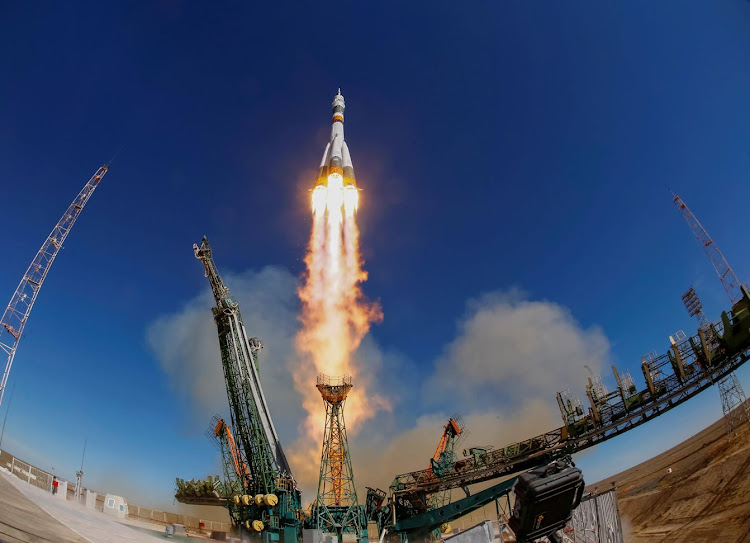 The Soyuz MS-10 spacecraft blasts off to the International Space Station from the launchpad at the Baikonur Cosmodrome, Kazakhstan, on October 11, 2018. Picture: REUTERS/SHAMIL ZHUMATOV