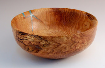 "Photo: Tom Ankrum - Bowl with inlay - 8"" x 3 1/2"" - Red Oak, Turquoise"