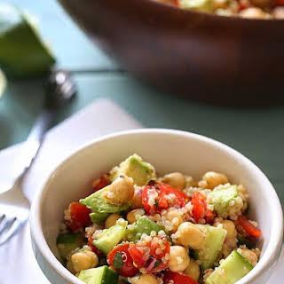 Quinoa Chickpea and Avocado Salad.