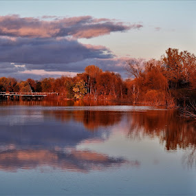 Dusk Reflections by Kathy Woods Booth - Landscapes Waterscapes ( waterscape, autumn, reflections, dusk )