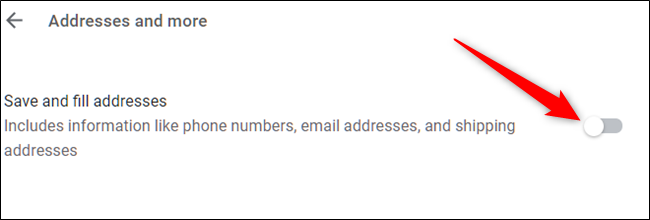 Google Chrome disable Autofill for Addresses and more