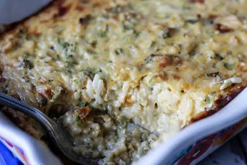 "Broccoli Rice Casserole ""This simple broccoli casserole is thick, creamy, cheesy and..."