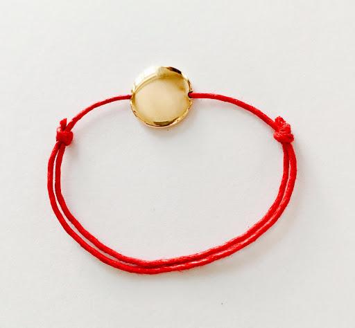 Bracelet pastille bombée en plaqué or