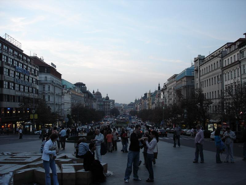 Looking down the main street in Prague