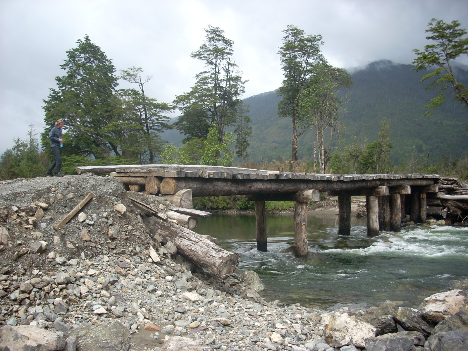 Lunch stop, at a dodgy bridge, where one end had collapsed. Seemed strong enough for us though.
