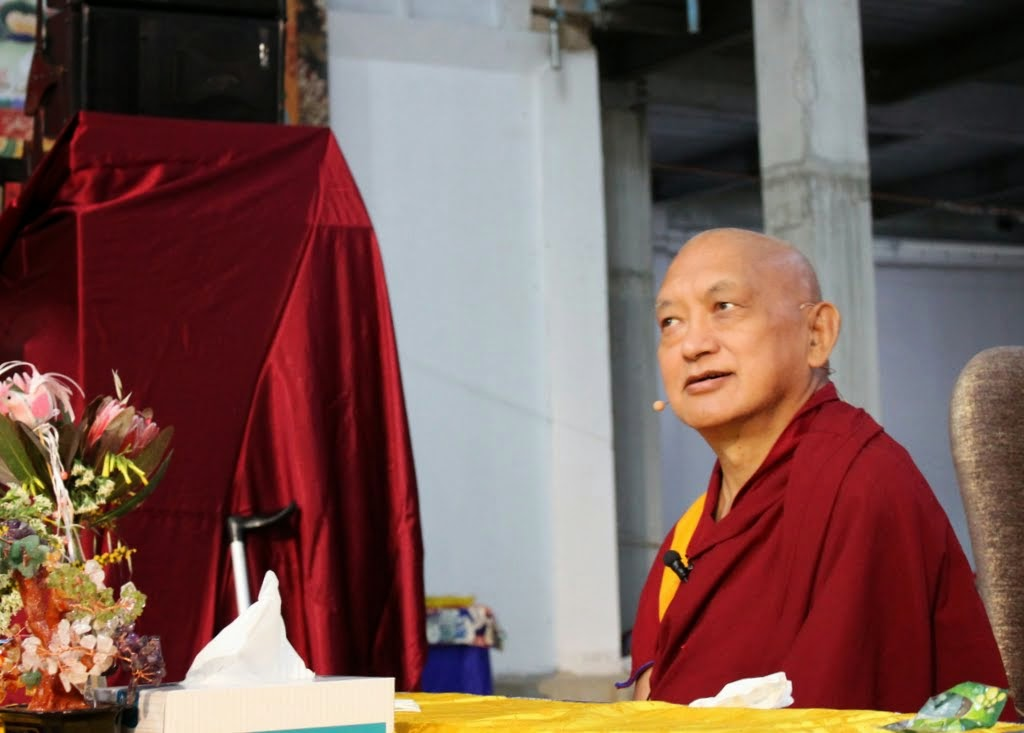 Lama Zopa Rinpoche listening to Andy Wistreich's question during CPMT 2014, Great Stupa of Universal Compassion, Australia, September 2014. Photo by Laura Miller.