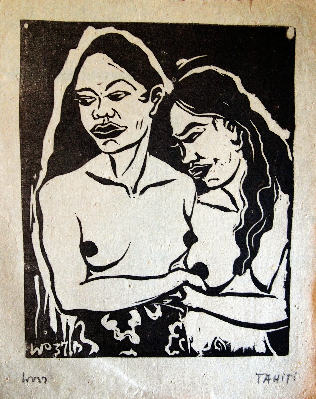 Nude Tahitians, hand print, 1937, family-owned