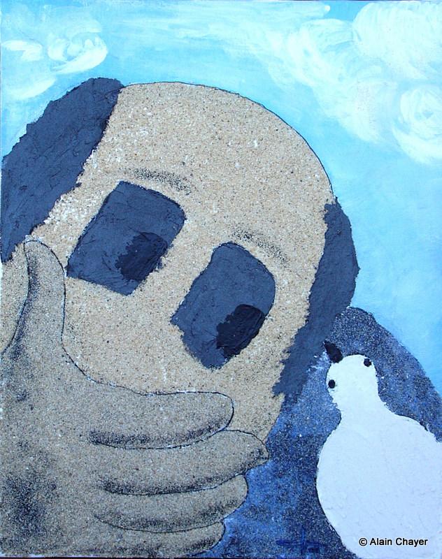 165 - L'oiseau - 2006 50 x 40 - Sable et acrylique sur toile