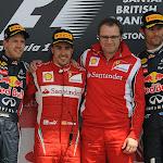 2011 British F1 GP podium: 1. Alonso, 2. Vettel 3. Webber
