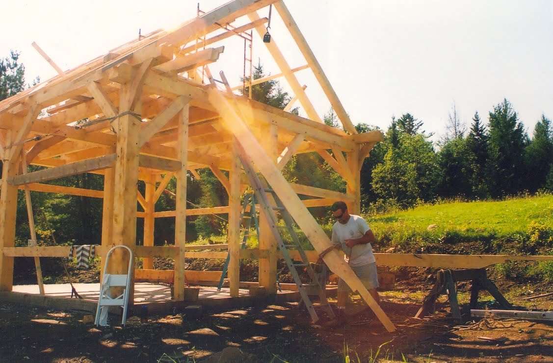 The home owner slinging up the rafters for the block and tackle.
