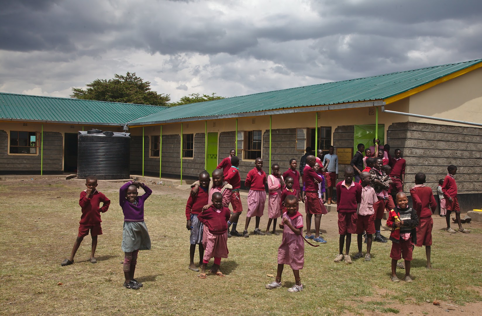 Schoolchildren are having a break