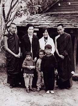 Rinpoche, Lama Yeshe and Jetsun Pema-la (the Dalai Lamas sister) in Mcleod Ganj
