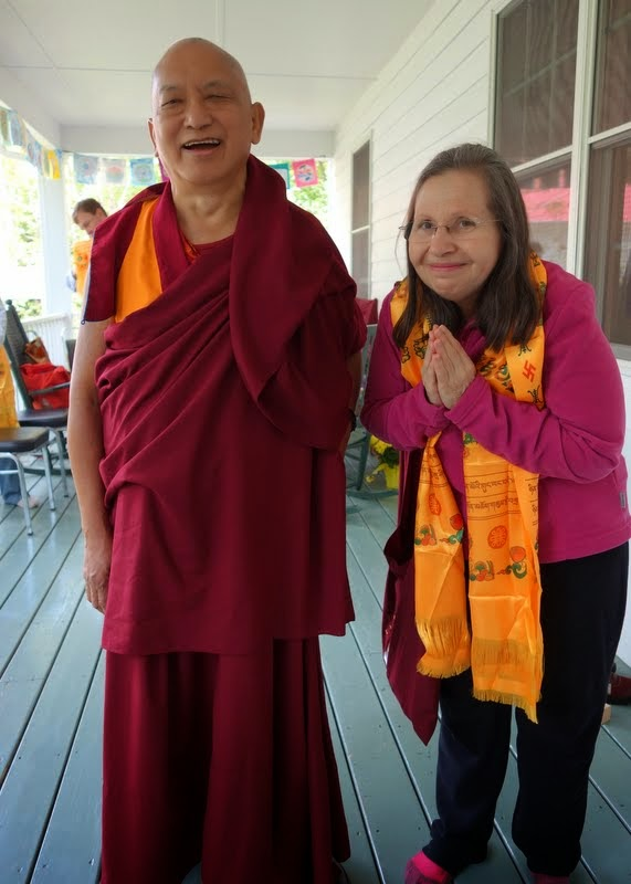 Lama Zopa Rinpoche with Mayra Rocha Sandoval, Black Mountain,  North Carolina, May 2014. Photo by Ven. Roger Kunsang.