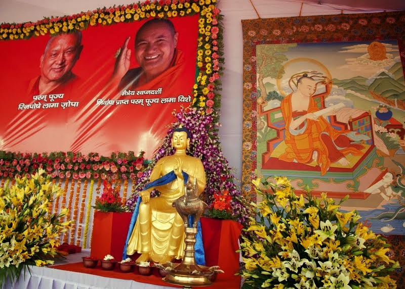 Maitreya statue replica on stage during ceremony, Kushinagar, India, December 13, 2013. Photo by Andy Melnic.