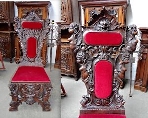 Большой резной стул. 19-й век. 65/70/150 см. 2500 евро.