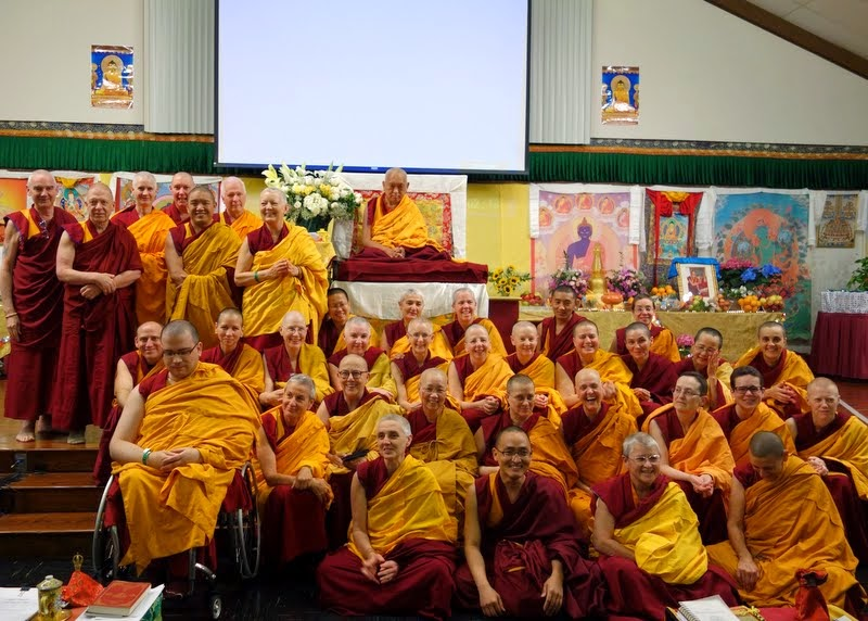 Lama Zopa Rinpoche with Sangha at Light of the Path, May 17, 2014. Photo by Ven. Thubten Kunsang.