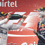 Rosberg gives Vettel a decent Champaign shower