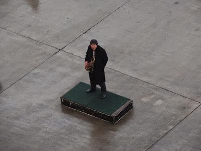 Local International sax player.... on a pedestal!