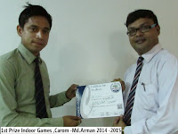 1st Prize Indoor Games ,Carom -Md.Arman 2014 -2015