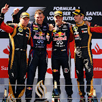 2013 German F1 GP podium: 1. Vettel 2. Raikkonen 3. Grosjean