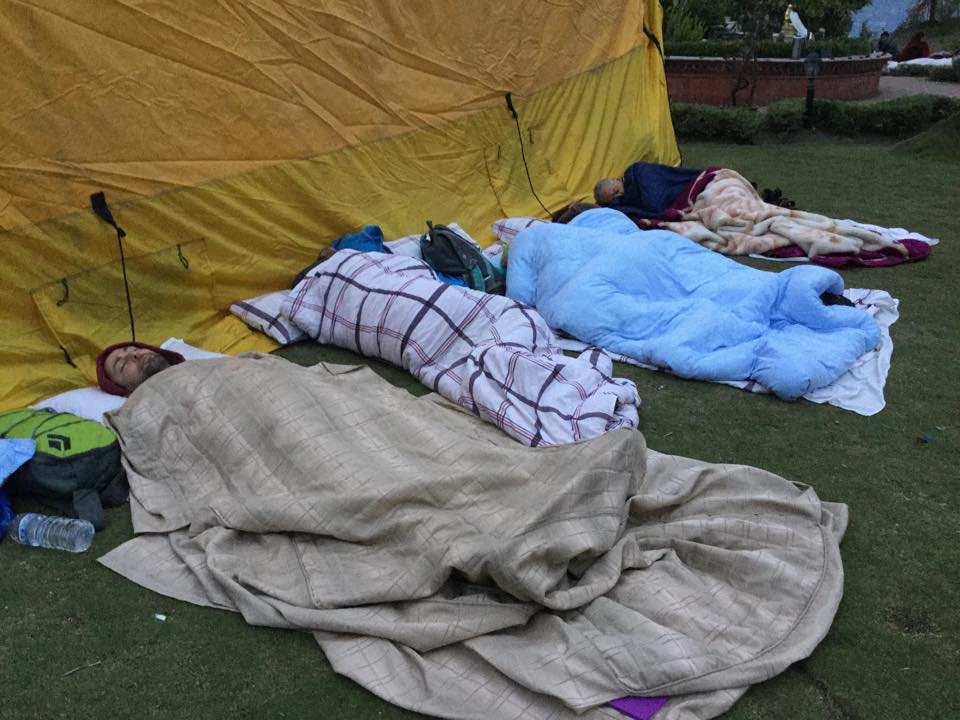 With the danger of aftershocks still present, those at Kopan Monastery camping outside for safety, days after the first quake. April, 2015