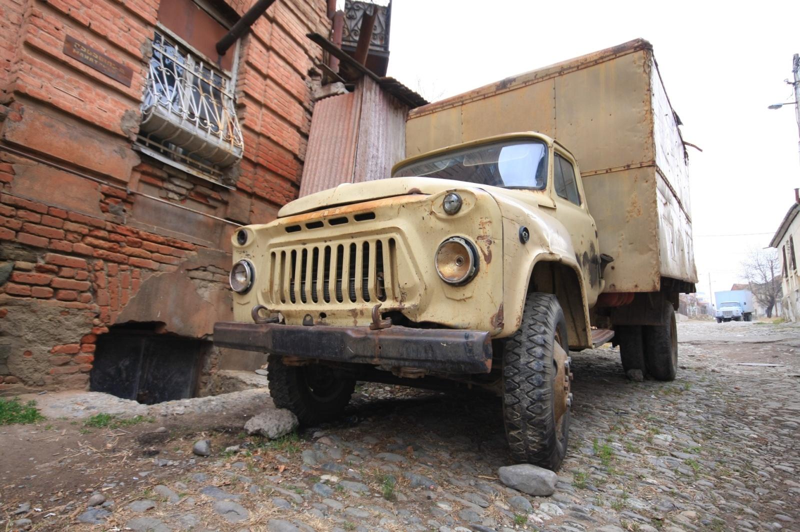 Avlabari has a very nice retro truck exhibition all over