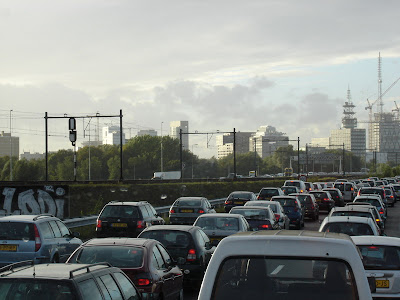 After approximately 600km, we weren't really impressed with the 5pm traffic on the outskirts of Amsterdam