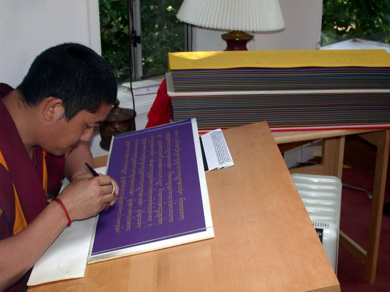 Ven.Tsering writing the Prajnaparamita in gold at Kachoe Dechen Ling, USA