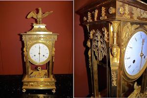Настольные часы в стиле АМПИР. ок.1810 г. Бронза, резьба, золочение. 22/14/53 см. 6500 евро.