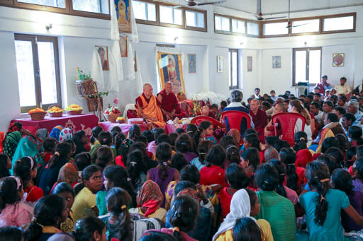 Lama Zopa Rinpoche teaching at MAITRI Institute, Bodhgaya, India, February 2015. Photo by Ven. Thubten Kunsang.