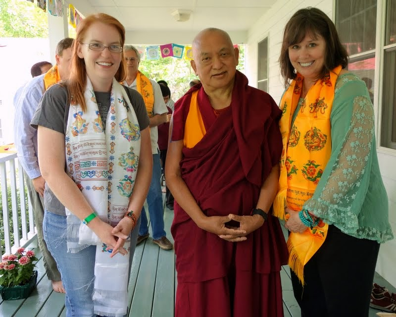 Lama Zopa Rinpoche with Sarah Brooks and Sandy Carlson, two of the retreat organizers, Light of the Path, North Carolina, US, May 2014. Photo by Ven. Roger Kunsang.
