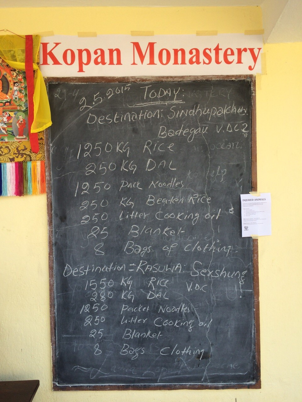 A sign at Kopan Monastery showing what is being sent out for aid that day, Nepal, May 2, 2015