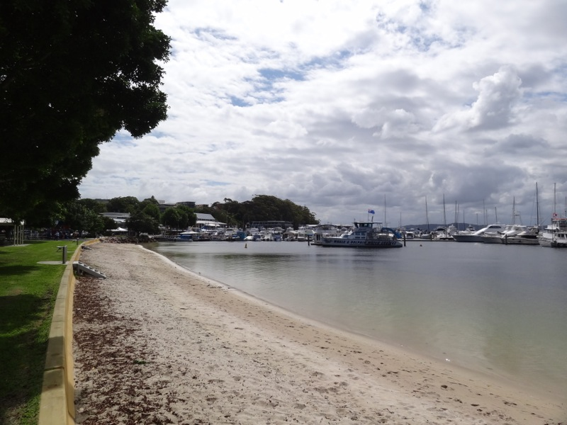 Nelson Bay township from the beach