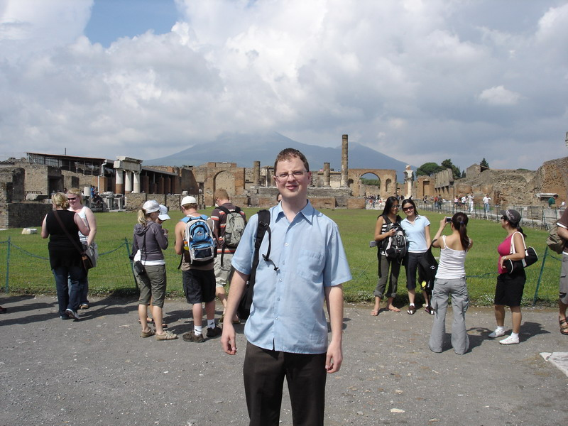Here I am with the mountain in the background at the main sqaure at Pompei