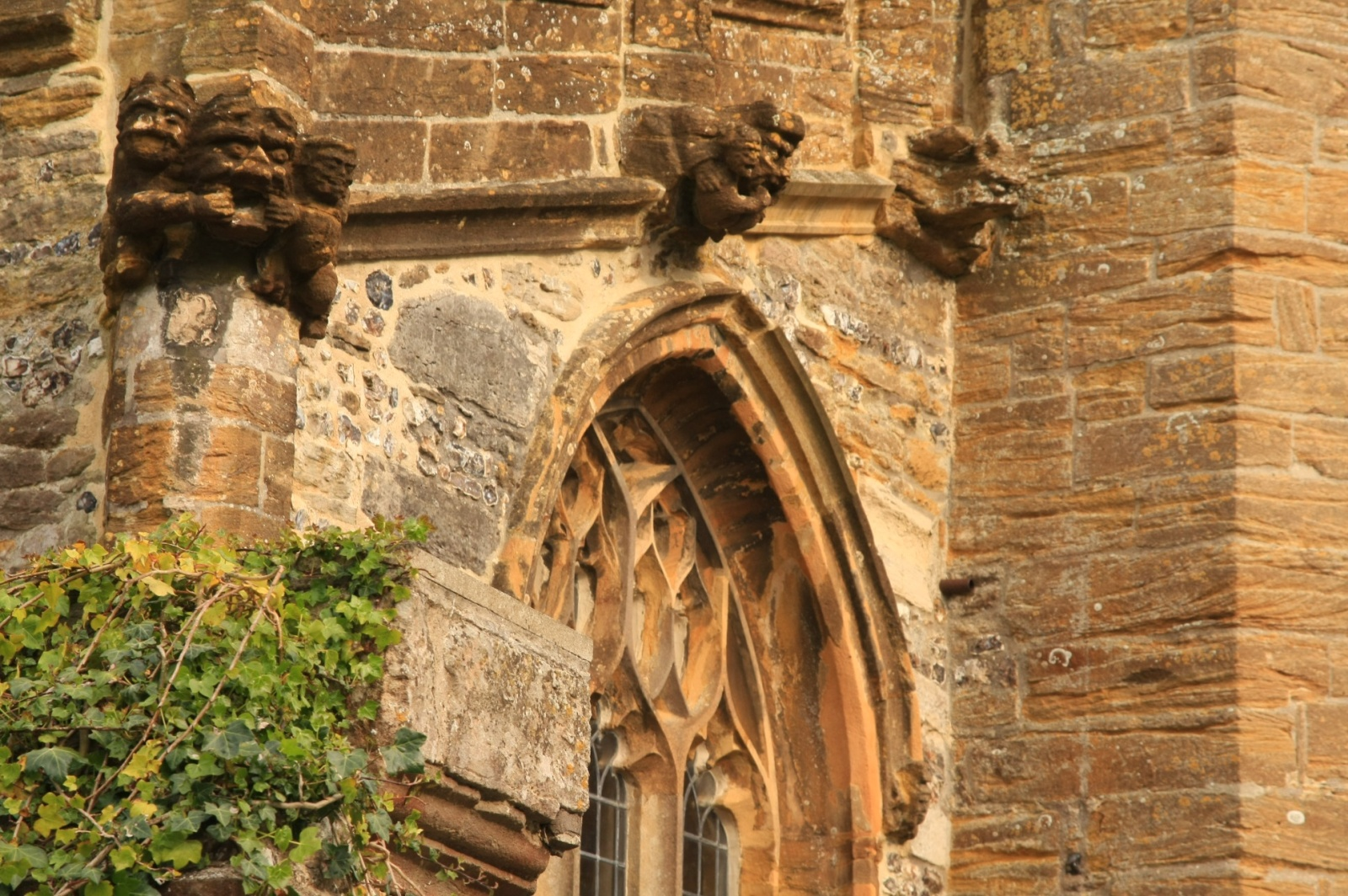 The abbey is guarded with nice gothic gargoyles