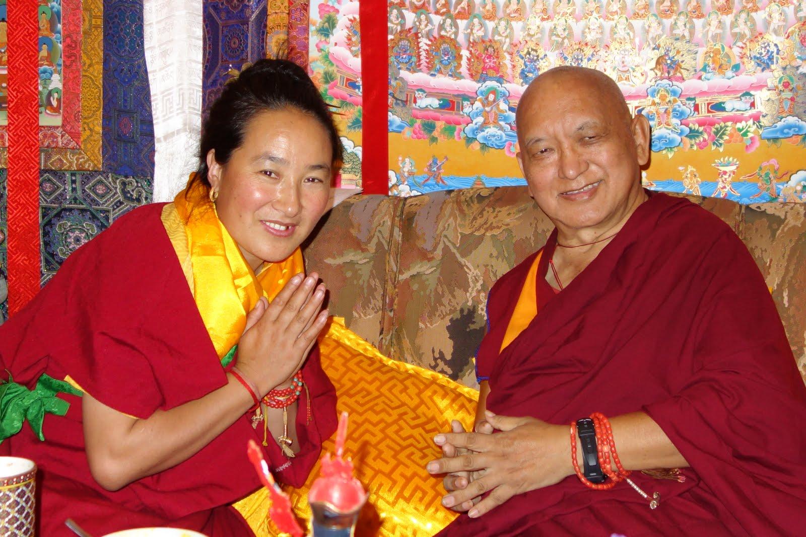 Rinpoche and Khadro-la discussing at Kopan Monastery. Photo Ven. Roger Kunsang