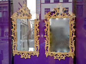 Два настенных зеркала 18-й век. Дерево, резьба, позолота. 90/65 см.