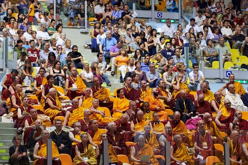 Western Sangha at His Holiness the Dalai Lama's public talk at Modigliani Forum in Livorno, Italy, June 15, 2014. Photo by Olivier Adam.