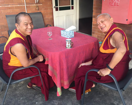 Lama Zopa Rinpoche at lunch with Geshe Samten, resident teacher at Vajrayana Institute, Sydney, Australia, June 2015. Photo by Ven. Roger Kunsang.