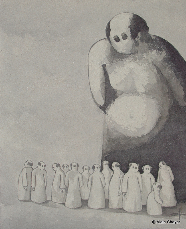 172 - The Giant - 2007 61 x 50 - Sable et encre de Chine sur toile