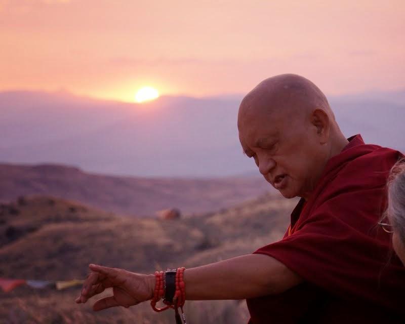 Lama Zopa Rinpoche visiting the new stupa being constructed by Pamtingpa Center near Tonasket, Washington, US, August 2014. Photo by Merry Colony.