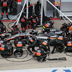 Sergio Perez (MEX) Sahara Force India F1 VJM08 makes a pit stop