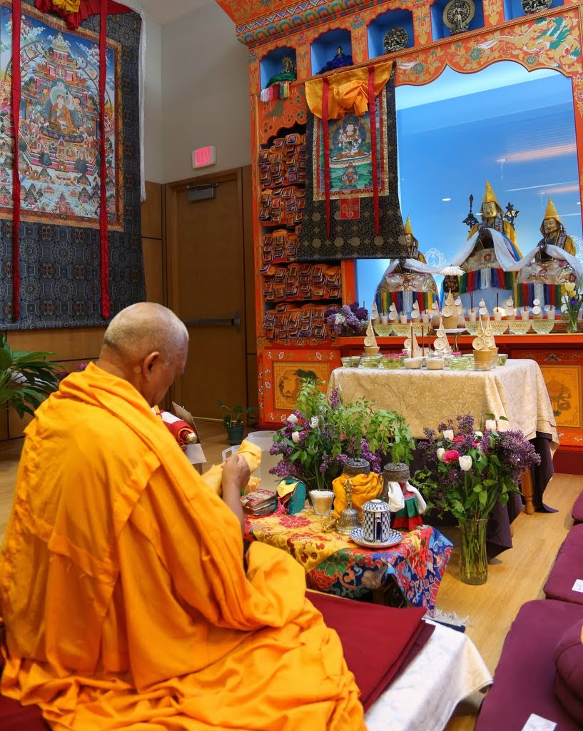 Lama Zopa Rinpoche doing preparations for a Vajrasattva initiation, Maitripa College, Portland, Oregon, US, April 2014. Photo by Ven. Thubten Kunsang.
