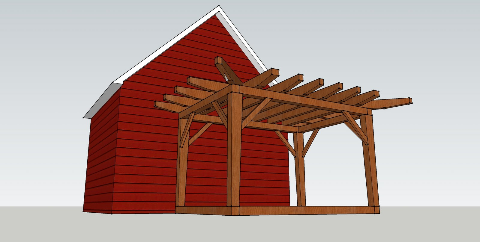 Detail of the frame and offset from the house at Fowler Rd in Plainfield.