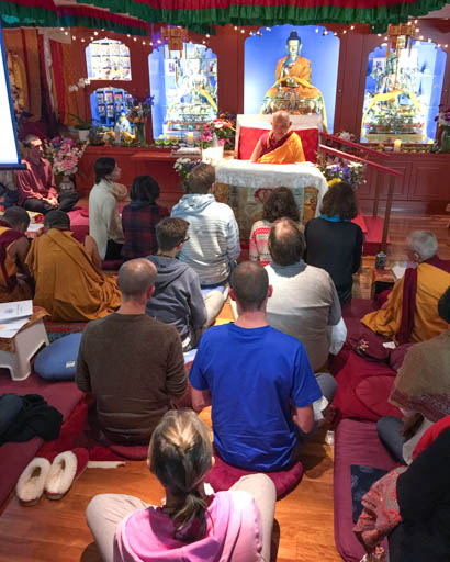 Lama Zopa Rinpoche giving refuge to students at Vajrayana Institute, Sydney, Australia, June 2015. Photo by Ven. Roger Kunsang.