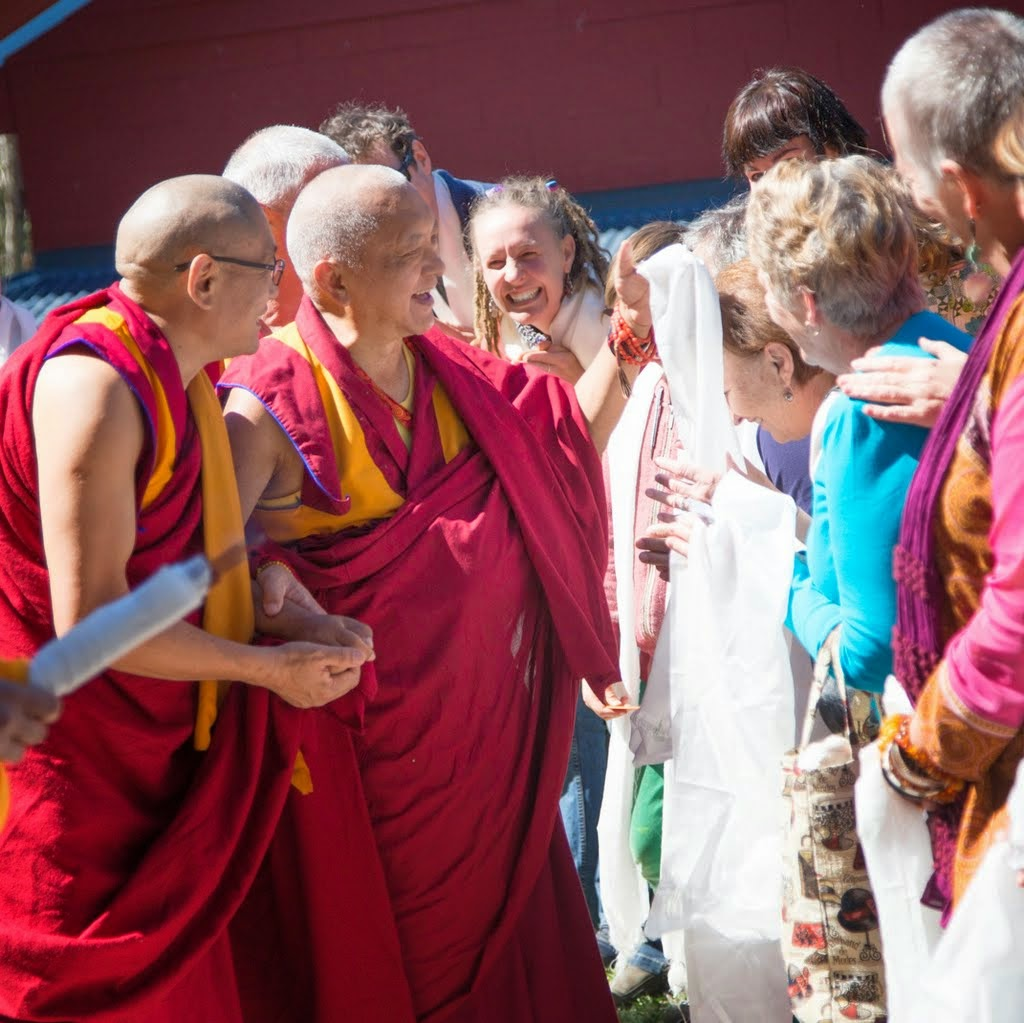 Lama Zopa Rinpoche arriving at Chenrezig Institute, Eudlo, Queensland, Australia, September 2014. Photo by Ven. Thubten Kunsang.