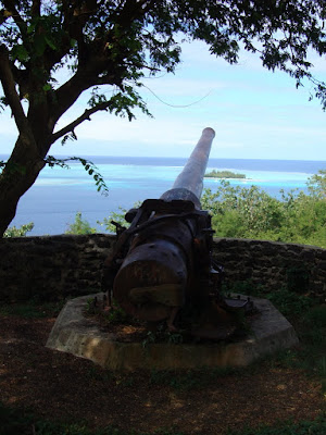 One of the gun batteries from WWII where Bora Bora was an Amercian base