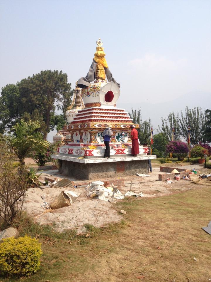 Khensur Rinpoche Lama Lhundrup Rigsel's second stupa being built at Kopan Monastery.