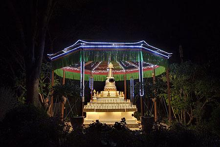 Kadampa Stupa at night at Kachoe Dechen Ling, Aptos, CA, USA.